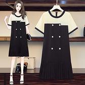 連身裙 洋裝中大尺碼L-5XL實拍胖MM撞色雪紡連身裙垂感A字百褶連身裙R28-A.胖丫