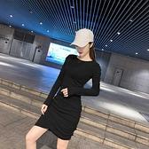顯瘦 洋裝 修身連身裙韓版氣質褶皺長袖連身裙女緊身性感打底裙NE215紅粉佳人