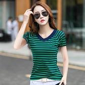 短袖T恤 時尚條紋短袖T恤女2020夏季新款韓版百搭棉V領半袖上衣修身顯瘦潮