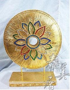 木雕工藝品 東南亞風格  家裝飾品圓形彩玻花型