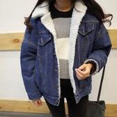 冬季新款加絨牛仔外套女韓版學生寬鬆bf羊羔毛棉衣百搭加厚棉服女  免運快速出貨