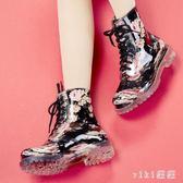 2018夏時尚雨靴短筒馬丁水鞋防滑膠鞋系帶成人休閒雨鞋女 nm4099 【VIKI菈菈】