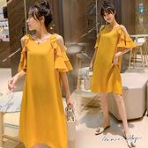 孕婦裝 MIMI別走【P52883】涼感雪紡 露肩荷葉袖連身裙 洋裝 修飾佳