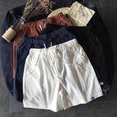 新款男士休閒短褲韓版沙灘短褲字母刺繡學生純色五分褲子