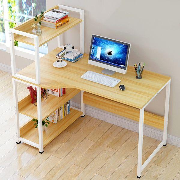 100cm現代簡約家用台式電腦桌 辦公桌子 附書架電腦桌 筆電桌 辦公桌 書桌《YV7633》快樂生活網