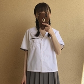 短袖襯衫夏季日本學生短袖灰色邊口袋上衣JK制服校服班服水手領襯衫 韓國時尚週
