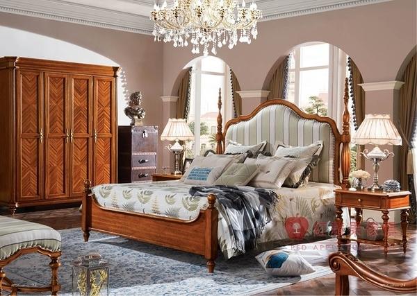 [紅蘋果傢俱] 301 美式系列 美式床台 6尺床台 法式 歐式 雙人床 床架  (另售床頭櫃、化妝台、衣櫃)
