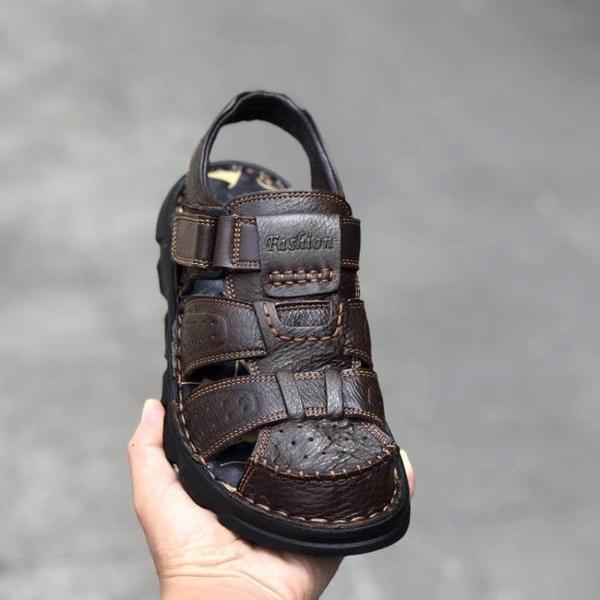 溯溪鞋 羅馬包頭涼鞋男鞋頭層真牛皮沙灘鞋溯溪鞋軟底透氣爸爸鞋48大碼鞋 瑪麗蘇