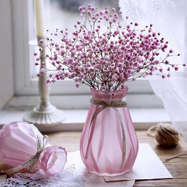 漸變水培玻璃花瓶水養植物花盆幹花插花瓶擺件