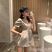 連體褲 女裝休閒褲2021年新款夏氣質高腰顯瘦工裝網紅短袖連體連衣短褲子 suger