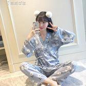 浴袍春秋冬季純棉長袖日式和服睡衣女薄款卡通開衫大碼家居服套裝奈斯女裝