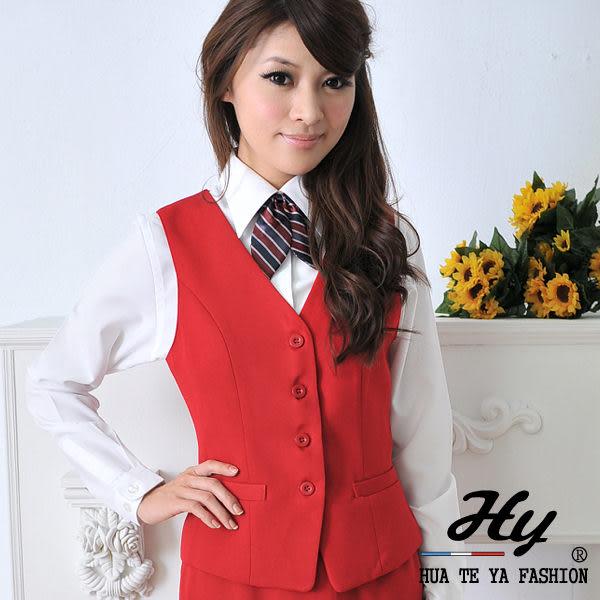 【大尺碼HV-14B-A】華特雅-簡約時尚OL辦公室女背心(暗紅)