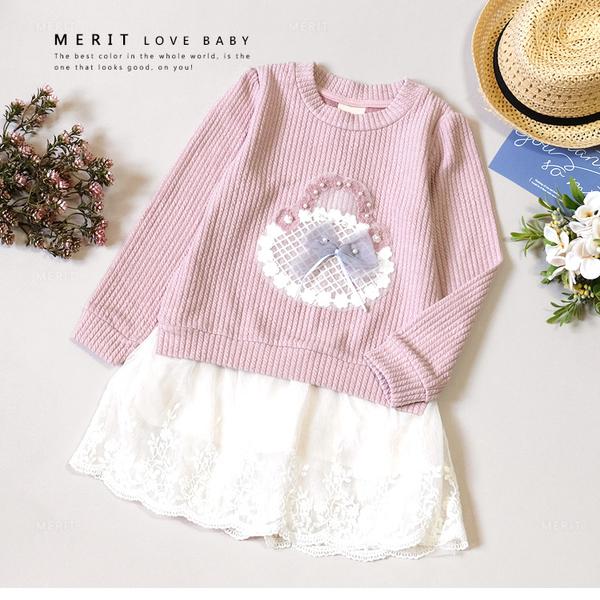純棉 甜美粉色羅紋毛線繡花籃蕾絲洋裝 上衣 柔軟 舒適 韓版 氣質 長袖 秋 女童 哎北比童裝
