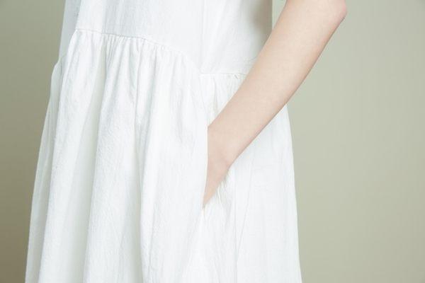 東京奈奈日系短袖無印森林系洋裝[j76281]