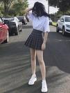 百褶裙 高腰格子百褶裙女夏季2020新款學院風半身裙子a字顯瘦黑色小短裙 曼慕衣櫃