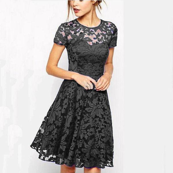 中大尺碼蕾絲洋裝 歐美爆款 氣質蕾絲鏤空花邊短袖連身裙