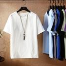 男生短袖T恤 香港中國風亞麻t恤男大碼夏季寬鬆圓領短袖上衣純色打底薄款半袖 快速出貨