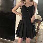 連身裙女夏季韓版純色高腰吊帶裙氣質寬松顯瘦百褶裙