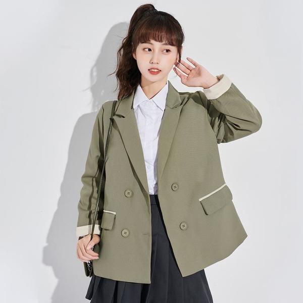 西裝外套 2021新款日系寬鬆小西服秋冬小個子休閒西裝軍綠短外套女潮