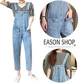 EASON SHOP(GW6440)實拍水洗丹寧磨白做舊多口袋明車線可調式吊帶牛仔裙連身褲女高腰長褲直筒休閒褲