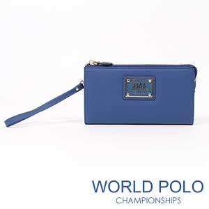 世界保羅WORLD POLO深色誘惑手拿式長夾/海洋藍