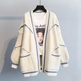 中長款外套 春裝新款正韓寬鬆字母時尚加厚針織中長款毛衣開衫秋冬外套女-Ballet朵朵