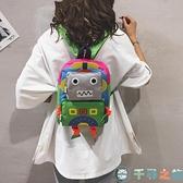 卡通後背包小包包女包可愛機器人小背包手提小書包【千尋之旅】