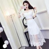 裙子夏女2018新款韓版氣質蕾絲拼接喇叭袖網紗裙高腰中長款連衣裙   初見居家