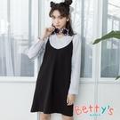 betty's貝蒂思 條紋襯衫領上衣+細...