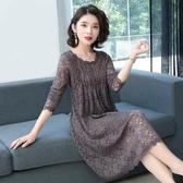 洋裝大尺碼2020春夏新款高檔蕾絲打底衫中長款大碼寬鬆顯瘦打底裙連身裙女裝