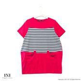 【INI】自信風采、休閒條紋拼接造型口袋上衣.梅紅色