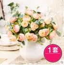 F0699 客廳餐桌仿真花套裝 地中海風格浮雕陶瓷奶壺花瓶(1套)