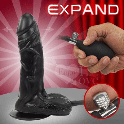Expand 充氣膨脹老二 - M號﹝變大+吸盤﹞黑色    貨號:500394