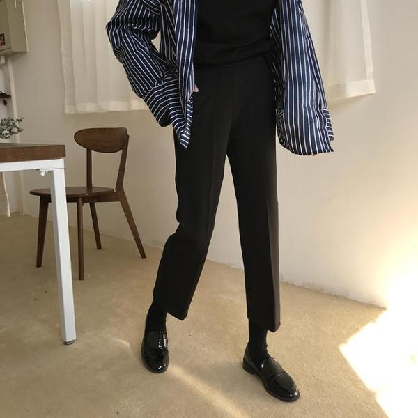 韓版復古黑色休閒褲女春季新款彈力修身顯瘦西裝褲直筒 『洛小仙女鞋』