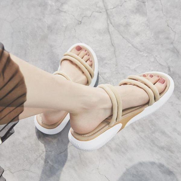網紅運動涼鞋女2019新款夏季百搭厚底仙女風ins潮兩穿平底涼拖鞋