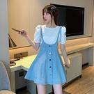 夏季新款韓版復古學生百搭網紅收腰顯瘦A字牛仔吊帶短裙連衣裙女