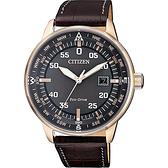 CITIZEN 星辰 限量光動能旅行手錶-灰x玫瑰金框/42mm BM7393-16H