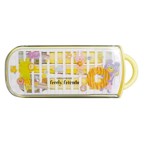 【日本製】【Rub a dub dub】兒童餐具三件組 黃色(一組:2個) SD-9191 - Rubadubdub