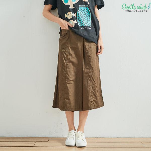 基本色雙口袋寬褲(黑/軍綠)-F【Gentle wind 輕輕.吹】