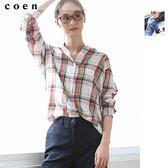 立領襯衫 格紋上衣 天絲棉 現貨 免運費 日本品牌【coen】