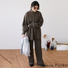 「Winter」 【SET ITEM】簡約高領折線上衣+鬆緊開叉寬褲 - Green Parks