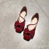 2021夏平底單鞋女淺口方頭奶奶鞋一字甜美蝴蝶結中空涼鞋軟底舒適 米娜小鋪
