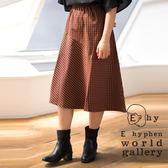 ❖ Autumn ❖ 不對稱格紋設計膝下裙 - E hyphen world gallery