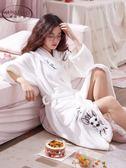 浴袍法蘭絨睡袍女冬珊瑚絨浴衣睡衣—聖誕交換禮物