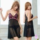 性感睡衣 俏麗黑桃撞色網紗美背二件式睡衣 愛的蔓延 NA19020019