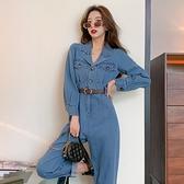連身褲2021春季新款時尚小翻領氣質百搭純色高腰直筒工裝連體褲套裝女潮 艾莎