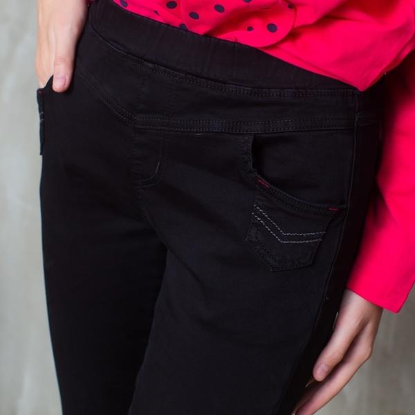 【中大尺碼】MIT前小袋撞色牛仔長褲
