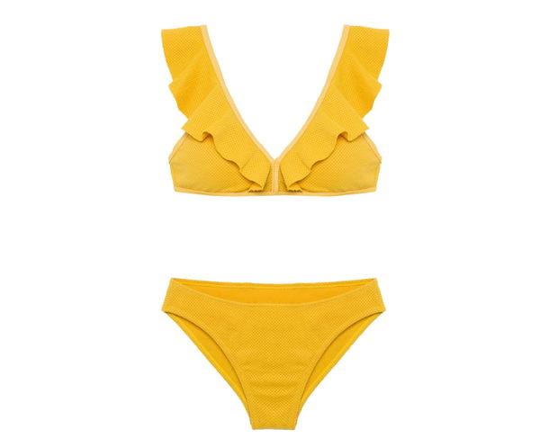 梨卡★現貨 - 甜美優雅波浪荷葉邊[搶眼+爆乳深V]兩件式泳裝比基尼二件式泳衣CR291-2