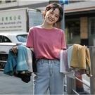 純棉短袖 100%純棉新款純色短袖t恤女寬鬆上衣白色打底衫學生韓版潮