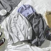 襯衫男 夏季新款條紋長袖襯衫男士港風正韓寬鬆衣服百搭休閒襯衣潮流